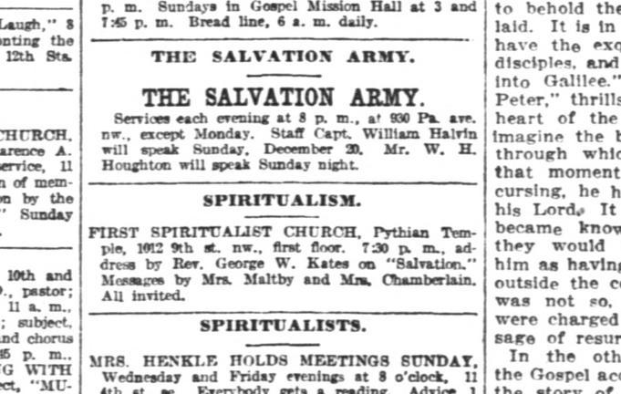 Mrs Maltby Spiritualist advertisement Padgett attends